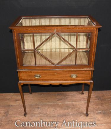 Antique Edwardian Display China Cabinet Mahogany Satinwood Chest