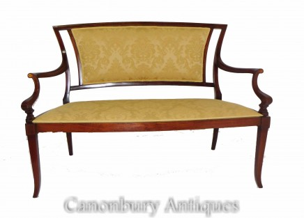 Antique Edwardian Settee - Mahogany Couch Seat 1900