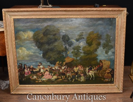 Antique English Oil Painting Medieval Renaissance Country Fayre Scene