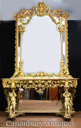 Antique Florentine Console Table and Mirror - Carved Italian Circa 1890