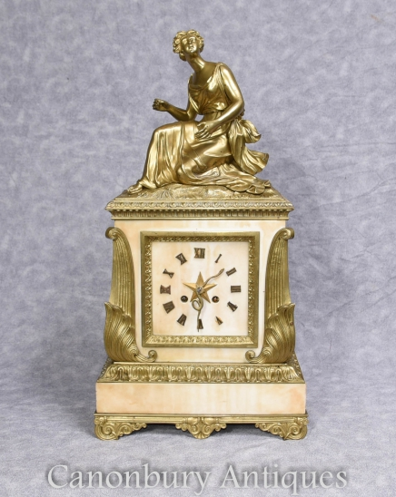 Art Deco Clock - Antique French Marble Ormolu Figurine 1930