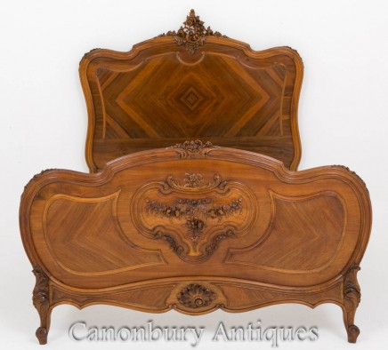 Antique French Bed - Walnut Hard Carved Bedroom 1860