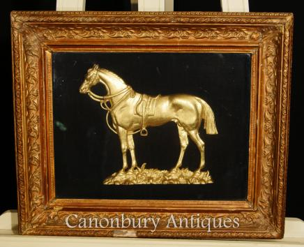Antique French Bronze Mounted Horse Relief Picture Framed