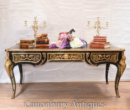 Antique French Bureau Plat - Boulle Inlay Writing Table