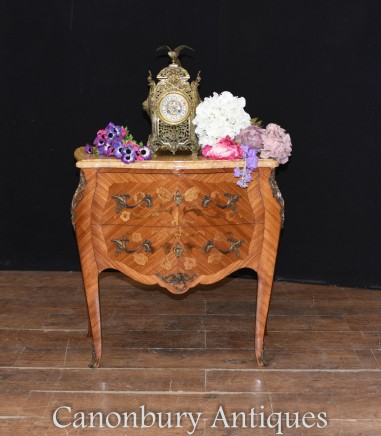 Antique French Commode Nightstand - Bombe Chest