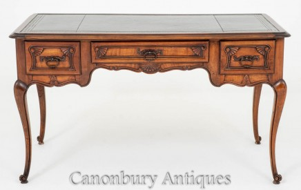 Antique French Desk - Cherry Wood Writing Table Bureau