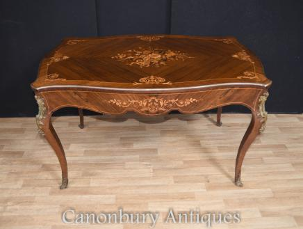 Antique French Desk  - Empire Bureau Plat Library Table Marquetry Inlay