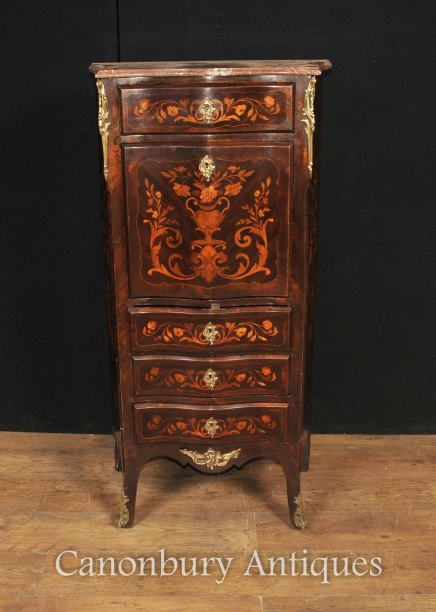Antique French Empire Escritoire 1880 Desks Bureau Chest Marquetry Inlay