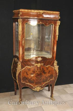 Antique Display Cabinet - French Empire Glass  Bijouterie Marquetry Inlay 1900