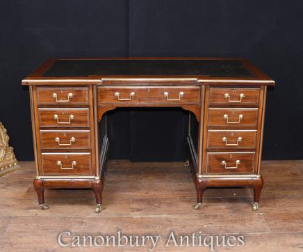French Desks = Antique Empire Knee Hole Bureau Desk 1890