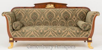 Antique French Empire Settee Couch 1860