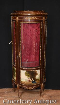 French Vitrine Display Cabinet - Antique Bijouterie Vernis Martin Kingwood