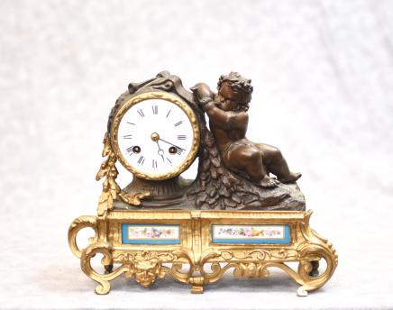 Antique French Mantel Clock - Bronze Cherub and Sevres Porcelain Plaques