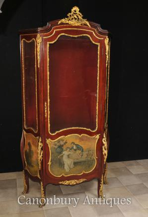 Antique Vitrine Display Cabinet - French Bijouterie Vernis Martin Paintings Kauffman