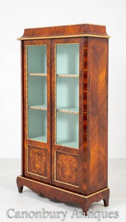 Antique French Vitrine Marquetry Inaly Display Cabinet