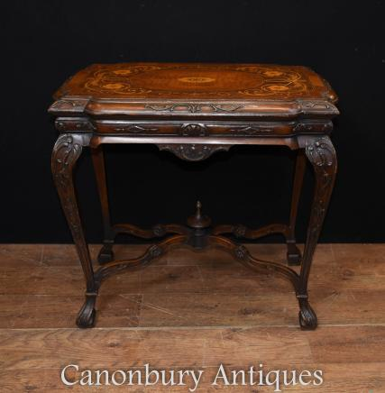 Antique French Walnut Side Table Marquetry Inlay