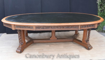Antique Gothic Desk Writing Table - Irish President Mary Robinson Oireachtas