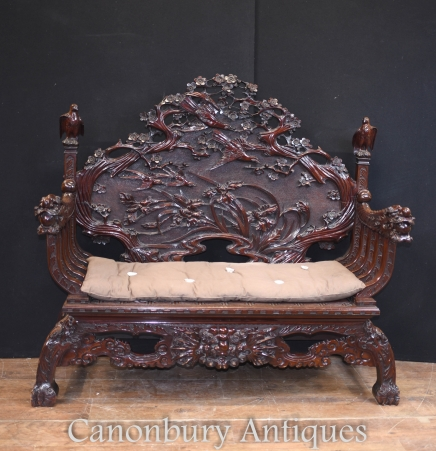Antique Hand Carved Hardwood Chinese Bench Seat Circa 1920