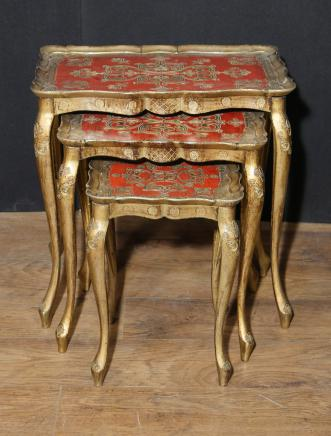 Antique Italian Gilt Nest of Tables Side Table Painted 1930
