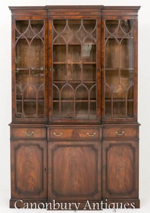 Antique Mahogany Breakfront Bookcase Georgian