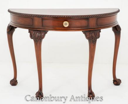 Antique Mahogany Chippendale Console Table - Demi Lune Form