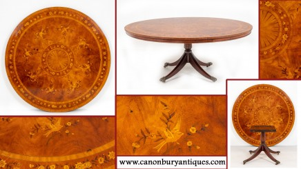 Antique Mahogany Dining Table - Marquetry Inlay Centre Tables