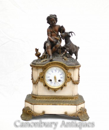 Antique Mantle Clock French Bronze Cherub and Goat