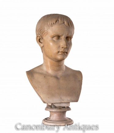 Antique Bust Emperor Augustus - Grand Tour Composition 1860