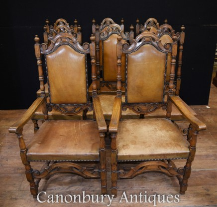 Antique Oak Dining Chairs - English Farmhouse Chair 1880