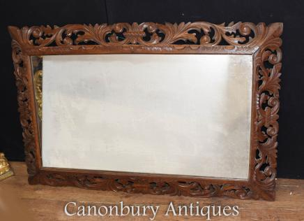 Antique Oak Mantle Mirror Hand Carved Frame Circa 1880