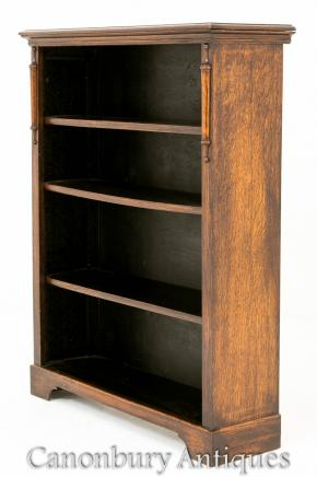 Antique Oak Open Front Bookcase Simple Form