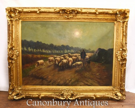 Antique Oil Painting Sheep Farmer Landscape Victorian 1880
