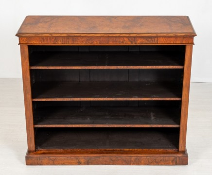 Antique Open Front Bookcase Victorian Walnut 1850
