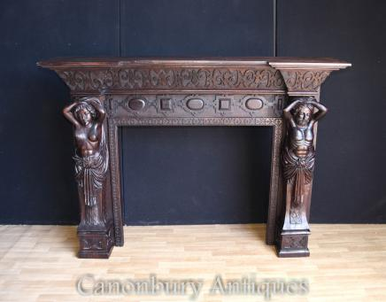 Antique Fireplace - Victorian Gothic Carved Caryatids 1880