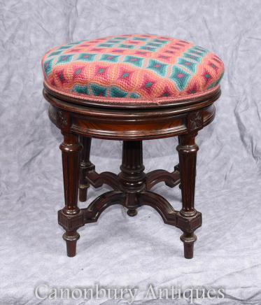 Antique Victorian Piano Stool Ajustable Height Rosewood