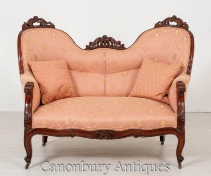 Antique Victorian Settee Couch Circa 1860 Interiors