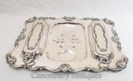 Antique Victorian Silver Plate Tray Serving Platter