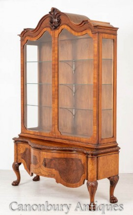 Antique Walnut Display Cabinet - Bookcase Inlay 1890