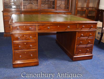 Antique William IV Mahogany Partners Desk - Partners Desks - Victorian Regency Pedestal Desks