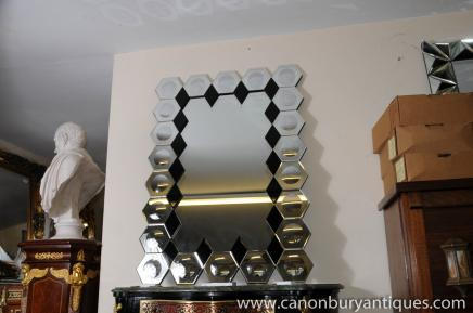 Art Deco Glass Pier Mirror Hexagonal Frame