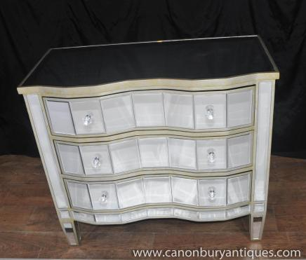 Art Deco Mirrored Chest Drawers Serpentine Commode