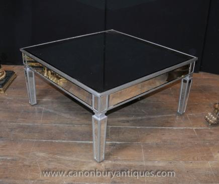 Art Deco Mirrored Coffee Table Glass Cocktail Tables