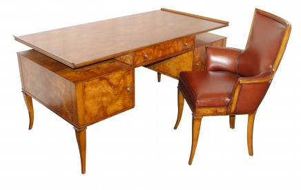 Art Deco Ash Desk and Chair Set Inspired by Tomazo Buzzi