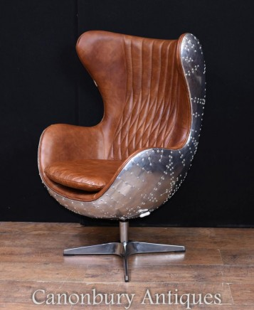 Art Deco Aviator Chair - Egg Chrome Arm Seat