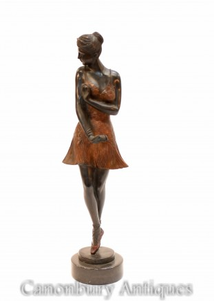 Art Deco Bronze Ballerina Statue - Ballet Dancer