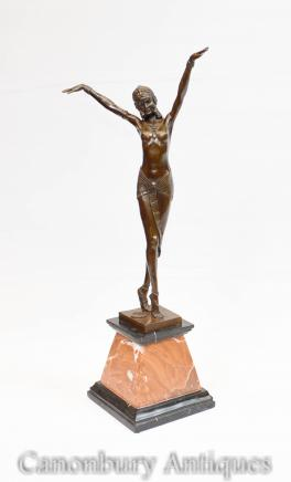 Art Deco Bronze Chiparus Statue Signed Figurine Egyptian Dancer