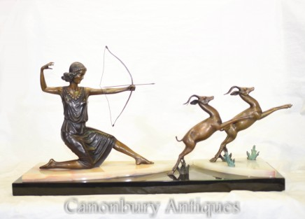 Art Deco Bronze Diana the Hunter Statue with Gazelles