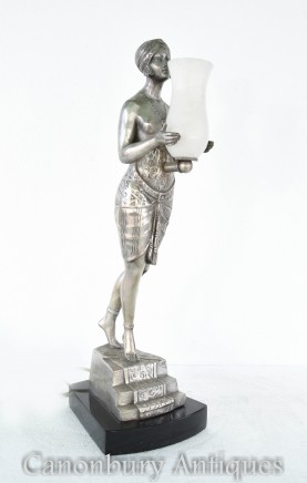 Art Deco Bronze Figurine Lamp - La Faguays Light