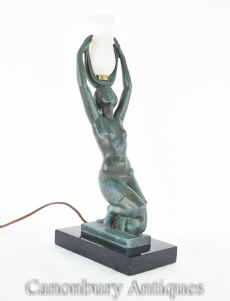 Art Deco Bronze Lamp Figurine - Fayral Table Light