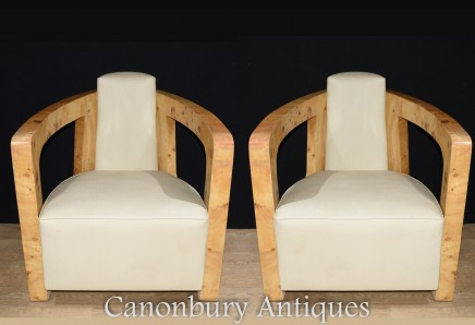 Art Deco Club Chairs - Pair Arm Chair Vintage Blonde Walnut